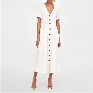 NWT Zara linen button down short sleeve midi dress